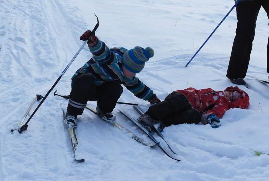 Пацаньё на лыжах